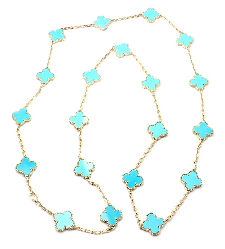 Vintage Alhambra Turquoise 20 Motif Yellow Gold Necklace For Sale 4
