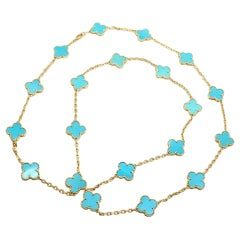 Vintage Alhambra Turquoise 20 Motif Yellow Gold Necklace