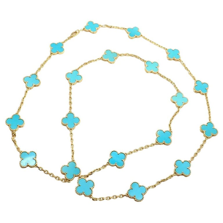 Vintage Alhambra Turquoise 20 Motif Yellow Gold Necklace For Sale
