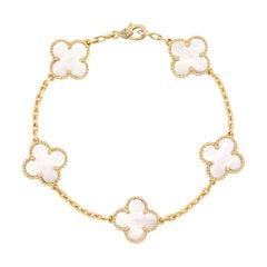 Vintage Alhambra Van Cleef & Arpels Bracelet 5 Motifs Mother of Pearl