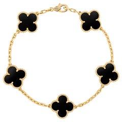 Vintage Alhambra Van Cleef & Arpels Bracelet 5 Motifs Onyx