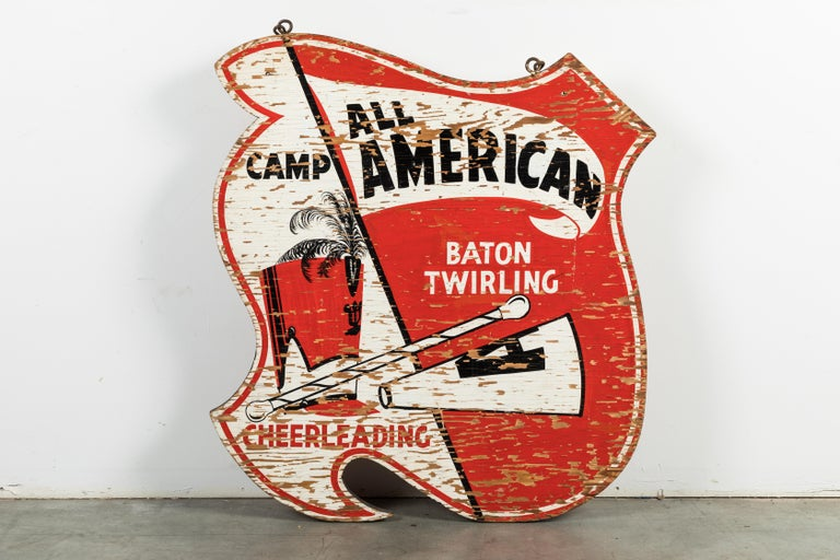 Vintage wood and hand painted all American cheerleading and baton twirling sign. Double sided.
