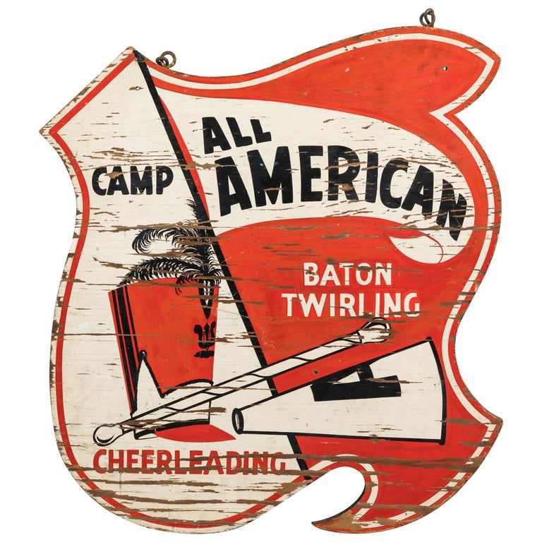 Vintage All American Cheerleading and Baton Twirling Trade Sign For Sale