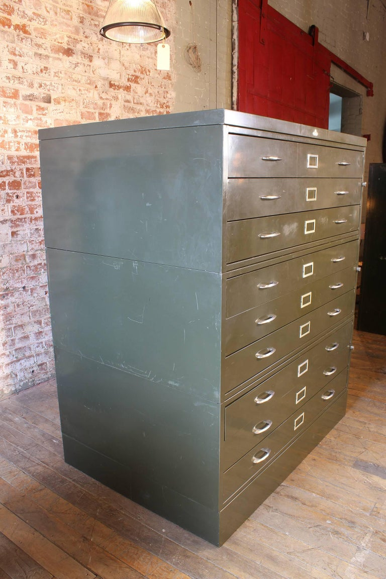 Vintage All-Steel Flat File Storage Cabinet For Sale 5