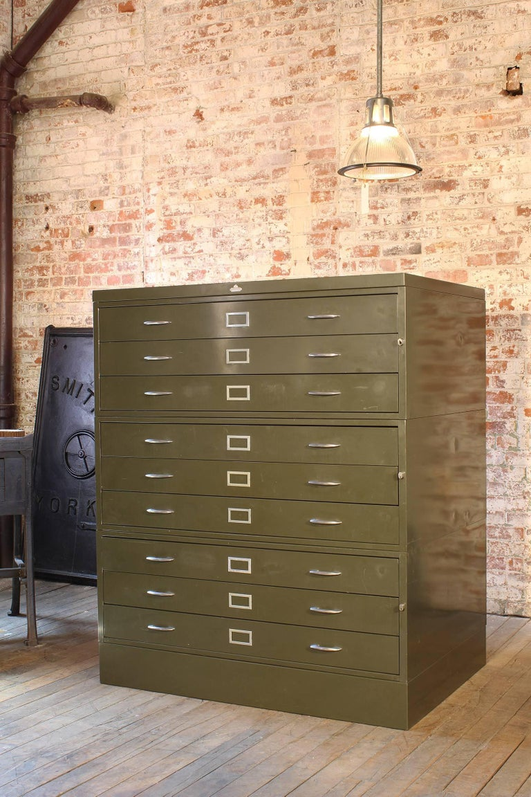 Vintage nine-drawer metal flat-file cabinet made by All-Steel. Architect's, draftsman drawing and document storage. Measures: 56 1/2