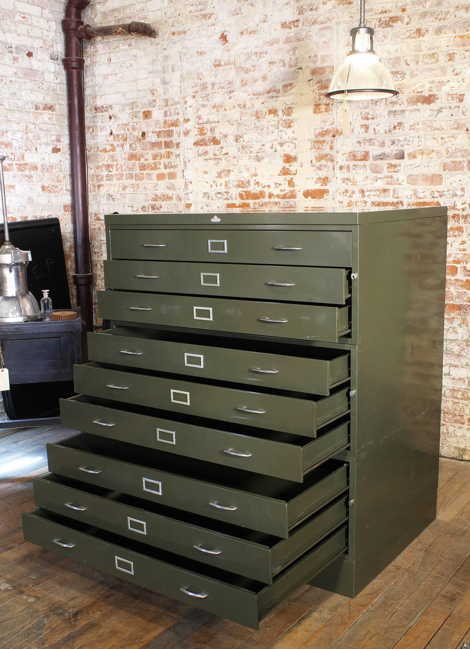 attractive Vintage Metal Filing Cabinet For Sale Part - 10: Industrial Vintage All-Steel Flat File Storage Cabinet For Sale