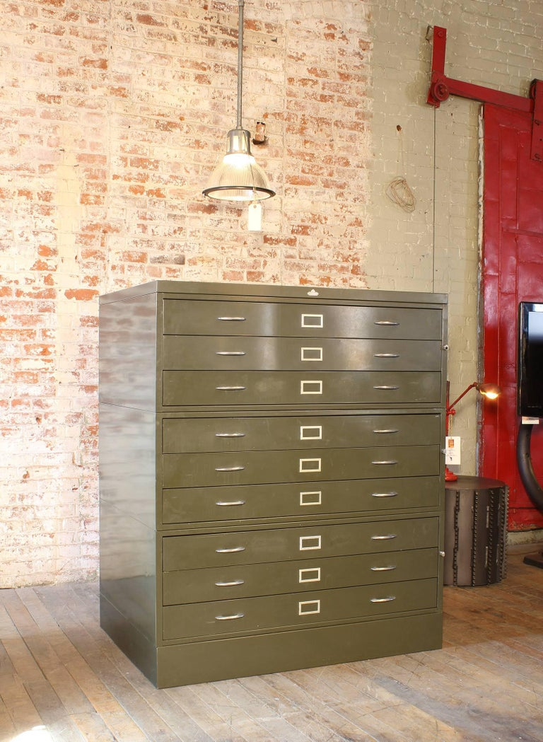 American Vintage All-Steel Flat File Storage Cabinet For Sale