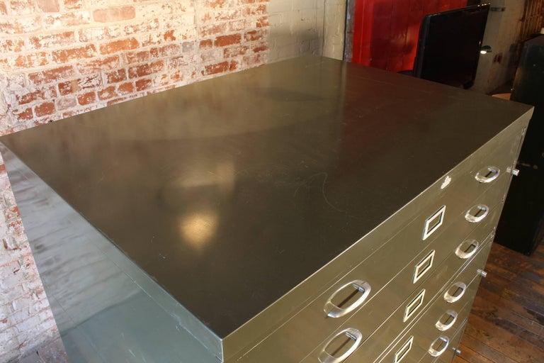 Metal Vintage All-Steel Flat File Storage Cabinet For Sale