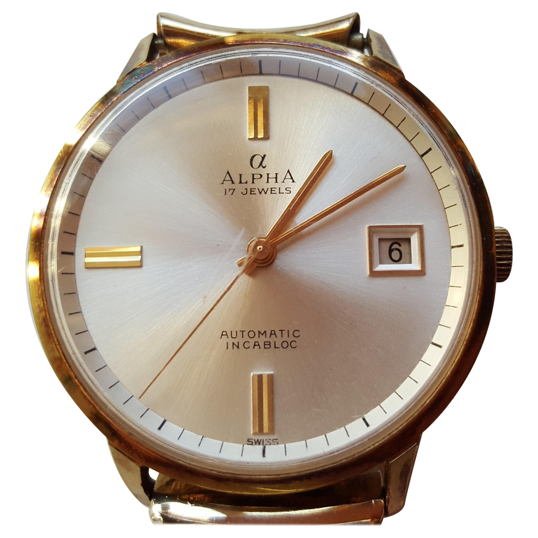 Vintage Alpha Watch 1950s Waterproof Date Swiss Automatic 17 Jewel