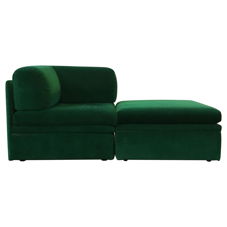 Vintage Altana Green Velvet Daybed Setee Sofa, Italy, 1970s