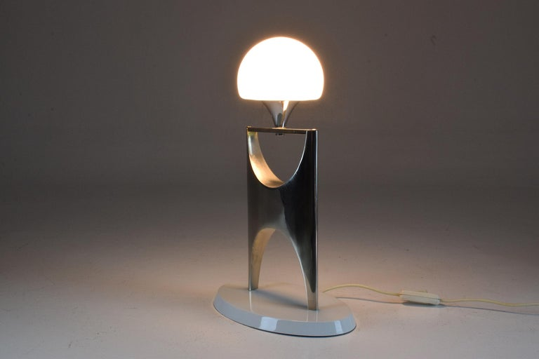 Boulle 20th Century Sculptural Aluminum Table Lamp, 1950-1960 For Sale