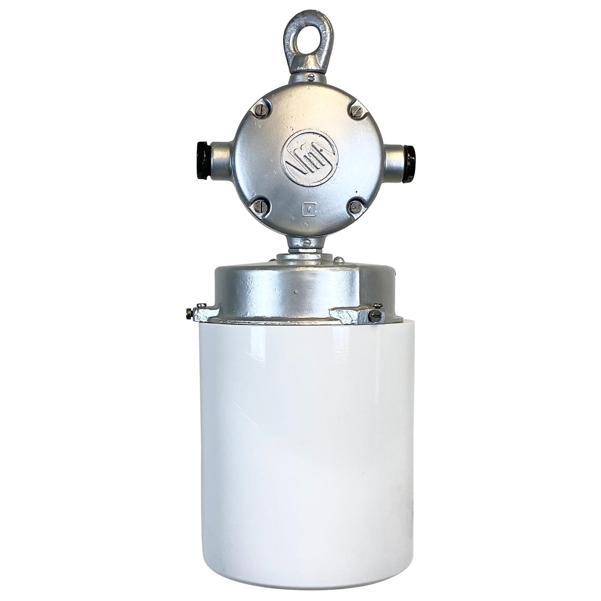 Vintage Aluminium Industrial Lamp with Milk Glass, 1970s