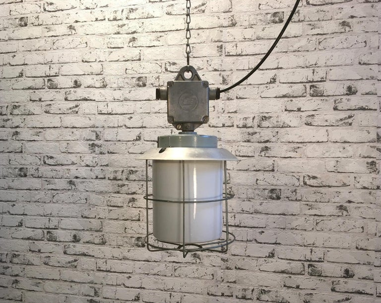 Czech Vintage Aluminium Industrial Lamp with Milky Glass, 1970s For Sale
