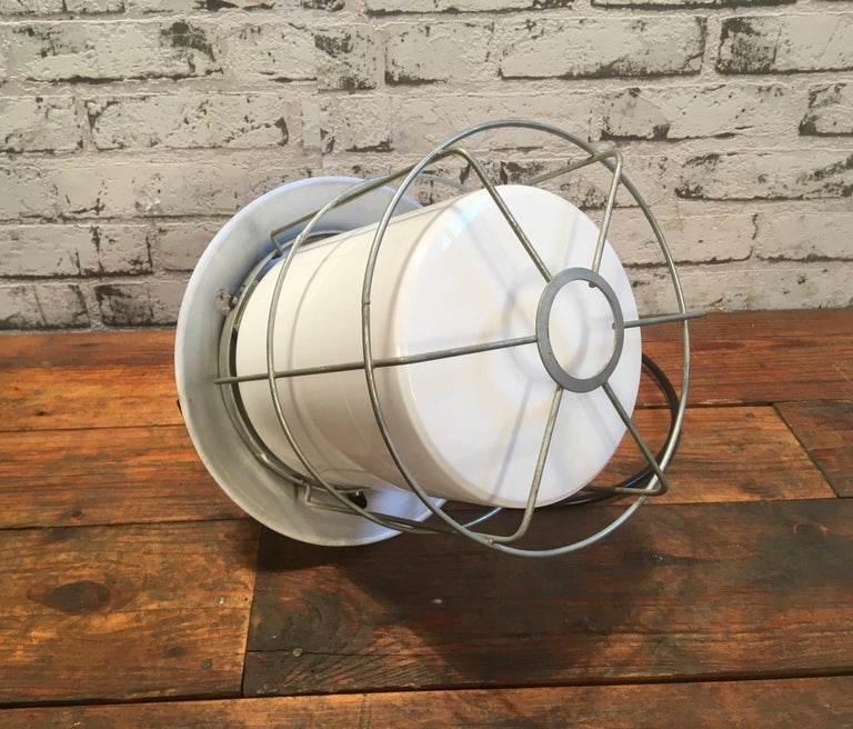 Cast Vintage Aluminium Industrial Lamp with Milky Glass, 1970s For Sale