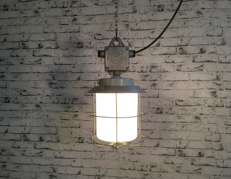 Vintage Aluminium Industrial Lamp with Milky Glass, 1970s In Good Condition For Sale In Mratin, CZ