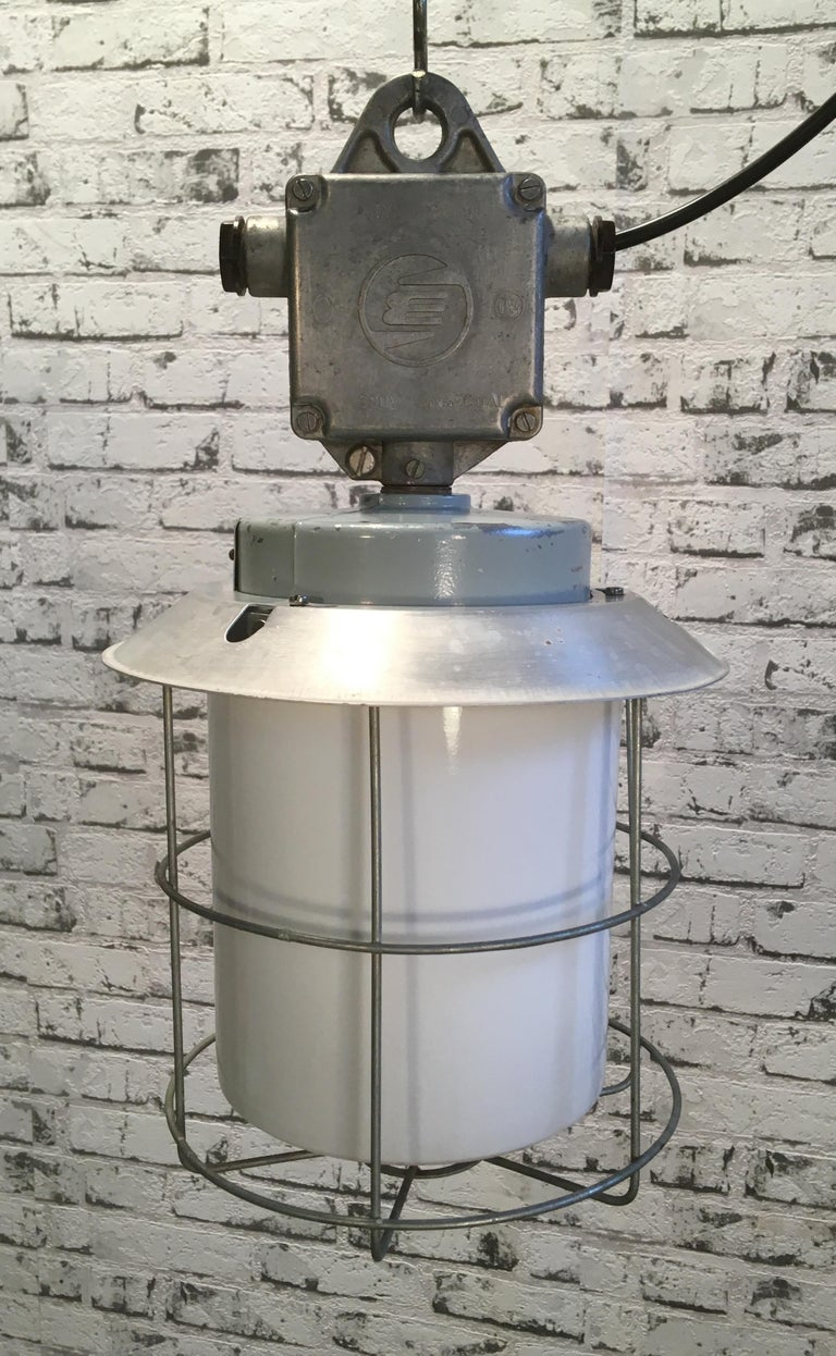 20th Century Vintage Aluminium Industrial Lamp with Milky Glass, 1970s For Sale