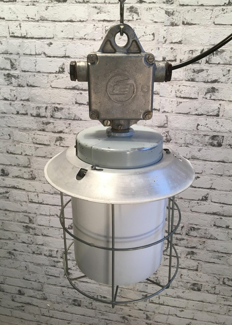 Iron Vintage Aluminium Industrial Lamp with Milky Glass, 1970s For Sale