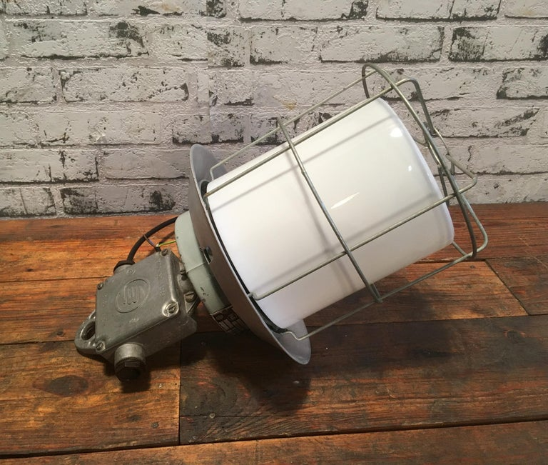Vintage Aluminium Industrial Lamp with Milky Glass, 1970s For Sale 1