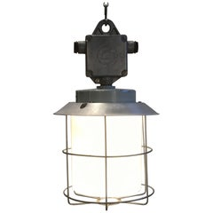 Vintage Aluminium Industrial Lamp with Milky Glass, 1970s