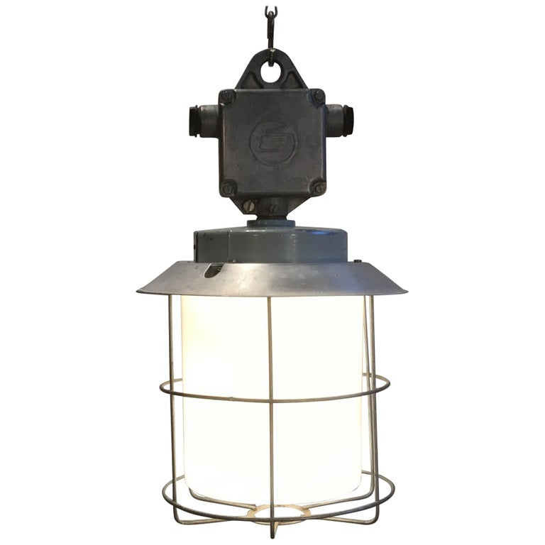Vintage Aluminium Industrial Lamp with Milky Glass, 1970s For Sale