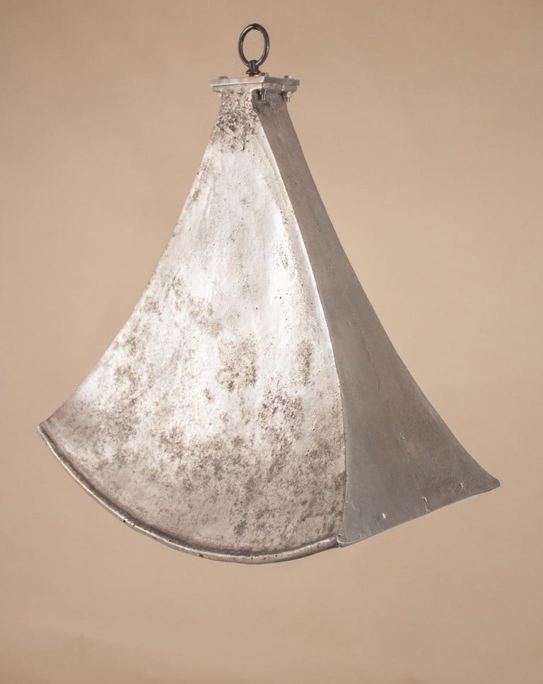 Vintage Aluminum Industrial Pendant Light In Good Condition For Sale In Heath, MA