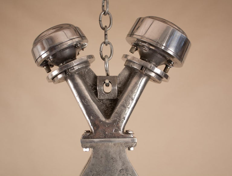 Vintage Aluminum Industrial Pendant Light For Sale 1