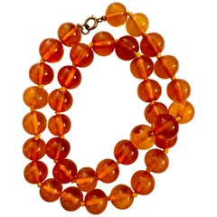 Vintage Amber Bead Necklace with Gold Filled Clasp