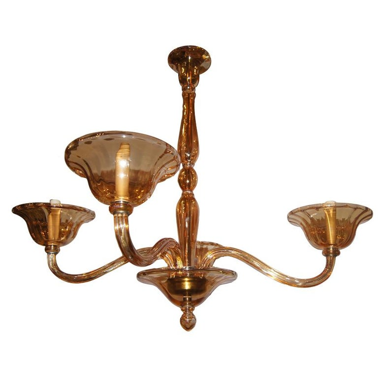 Murano Chandelier Color: Vintage Amber Color Murano Chandelier For Sale At 1stdibs