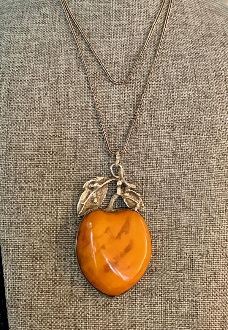 Vintage Amber Fruit Pendant Long Sterling Silver Fox Tail Chain Necklace 3