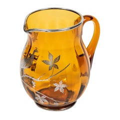 Vintage Amber Glass Pitcher with Sterling Silver Overlay