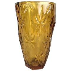 Vintage Amber Glass Vase, 1970s