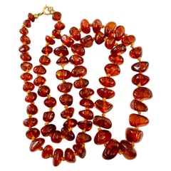 Vintage Amber Graduated Bead Necklace with Brass Clasp