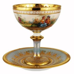 Vintage Ambrosius Lamm Hand-Painted Footed Cup and Saucer Gilt Romantic