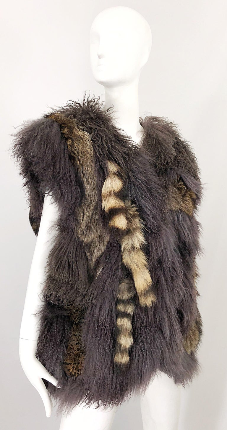Vintage Amen Wardy 1970s Avant Garde Grey + Brown Mixed Fur Leather Vest Jacket For Sale 5
