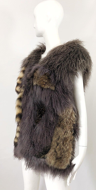 Vintage Amen Wardy 1970s Avant Garde Grey + Brown Mixed Fur Leather Vest Jacket For Sale 6