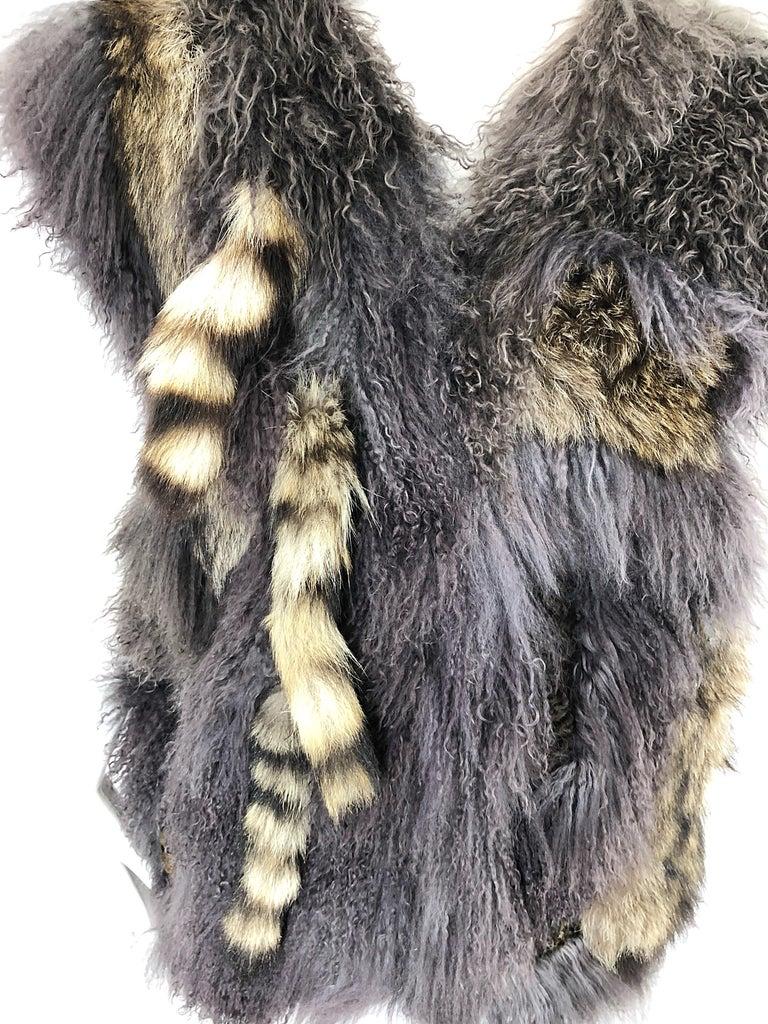 Vintage Amen Wardy 1970s Avant Garde Grey + Brown Mixed Fur Leather Vest Jacket For Sale 7
