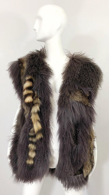 Vintage Amen Wardy 1970s Avant Garde Grey + Brown Mixed Fur Leather Vest Jacket For Sale 8