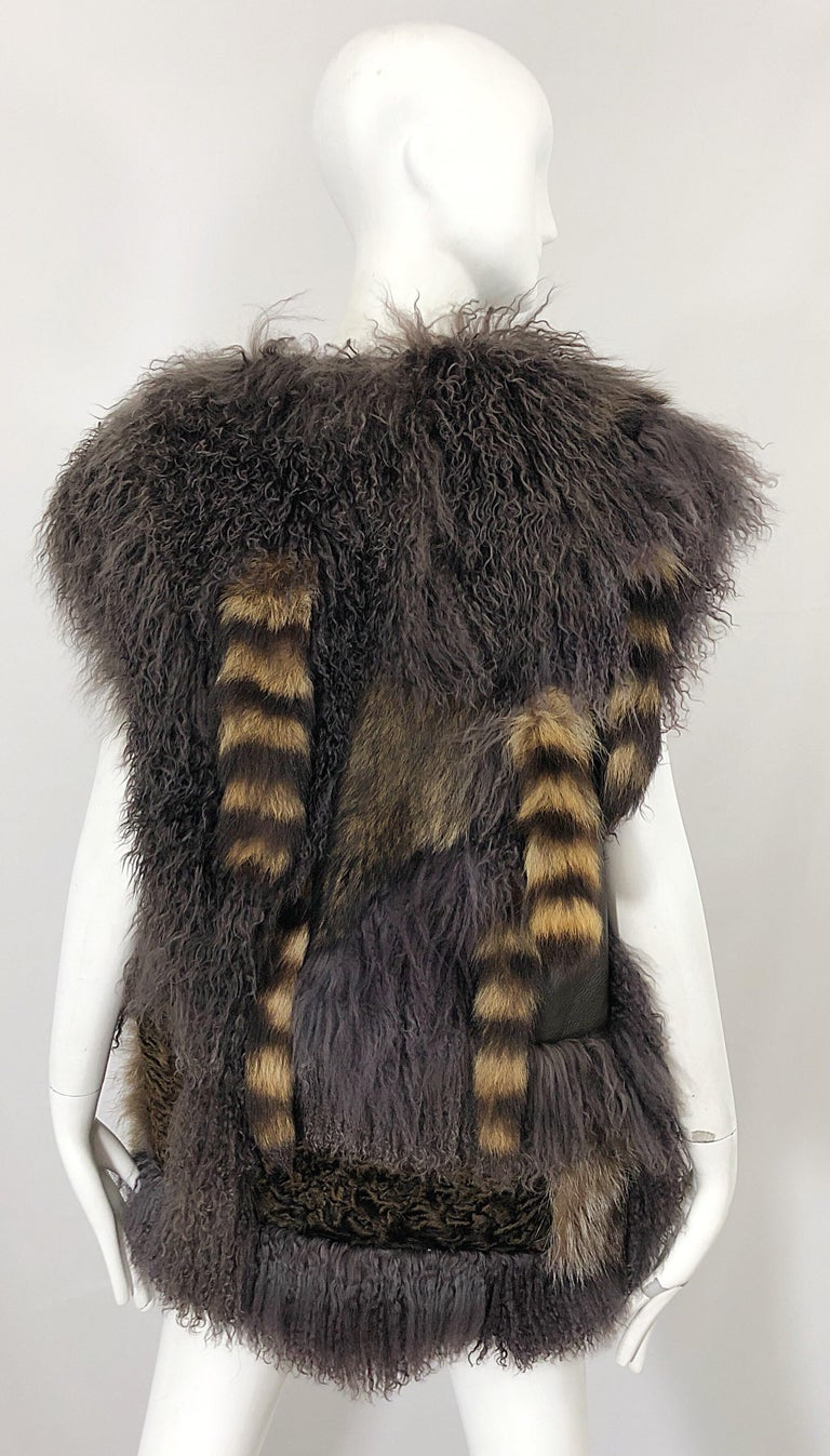 Vintage Amen Wardy 1970s Avant Garde Grey + Brown Mixed Fur Leather Vest Jacket For Sale 9