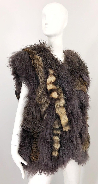 Vintage Amen Wardy 1970s Avant Garde Grey + Brown Mixed Fur Leather Vest Jacket For Sale 10