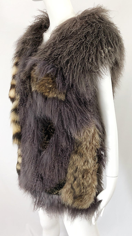 Vintage Amen Wardy 1970s Avant Garde Grey + Brown Mixed Fur Leather Vest Jacket For Sale 11