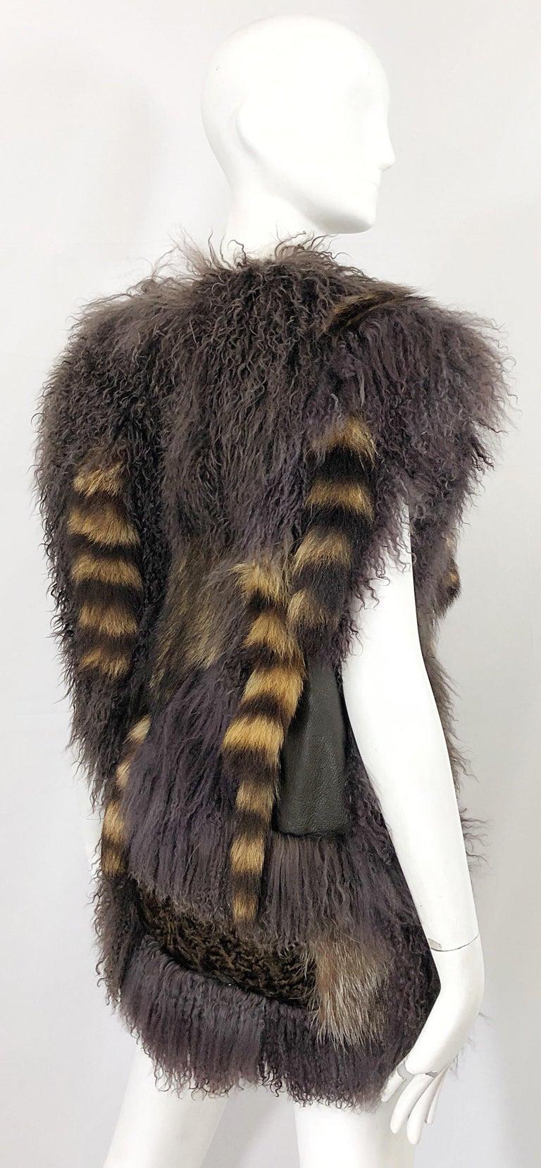 Vintage Amen Wardy 1970s Avant Garde Grey + Brown Mixed Fur Leather Vest Jacket For Sale 12