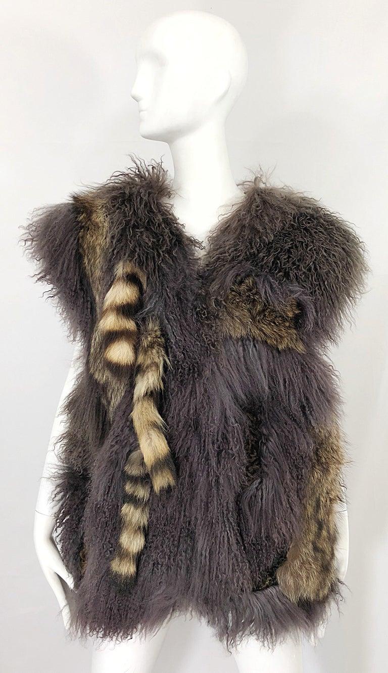 Vintage Amen Wardy 1970s Avant Garde Grey + Brown Mixed Fur Leather Vest Jacket For Sale 13