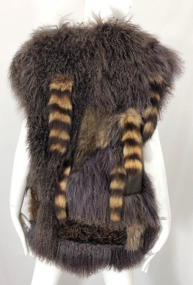 Gray Vintage Amen Wardy 1970s Avant Garde Grey + Brown Mixed Fur Leather Vest Jacket For Sale