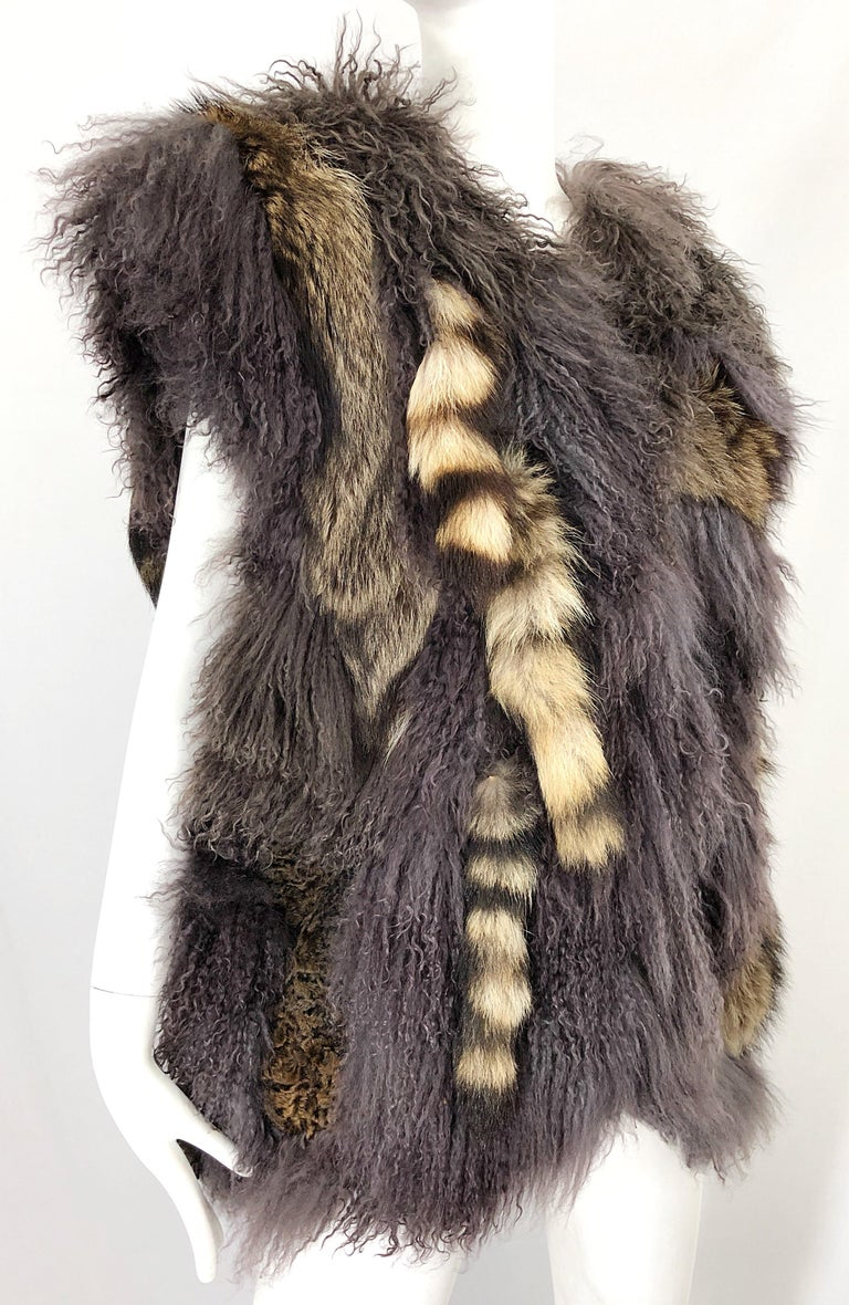 Vintage Amen Wardy 1970s Avant Garde Grey + Brown Mixed Fur Leather Vest Jacket In Good Condition For Sale In Chicago, IL