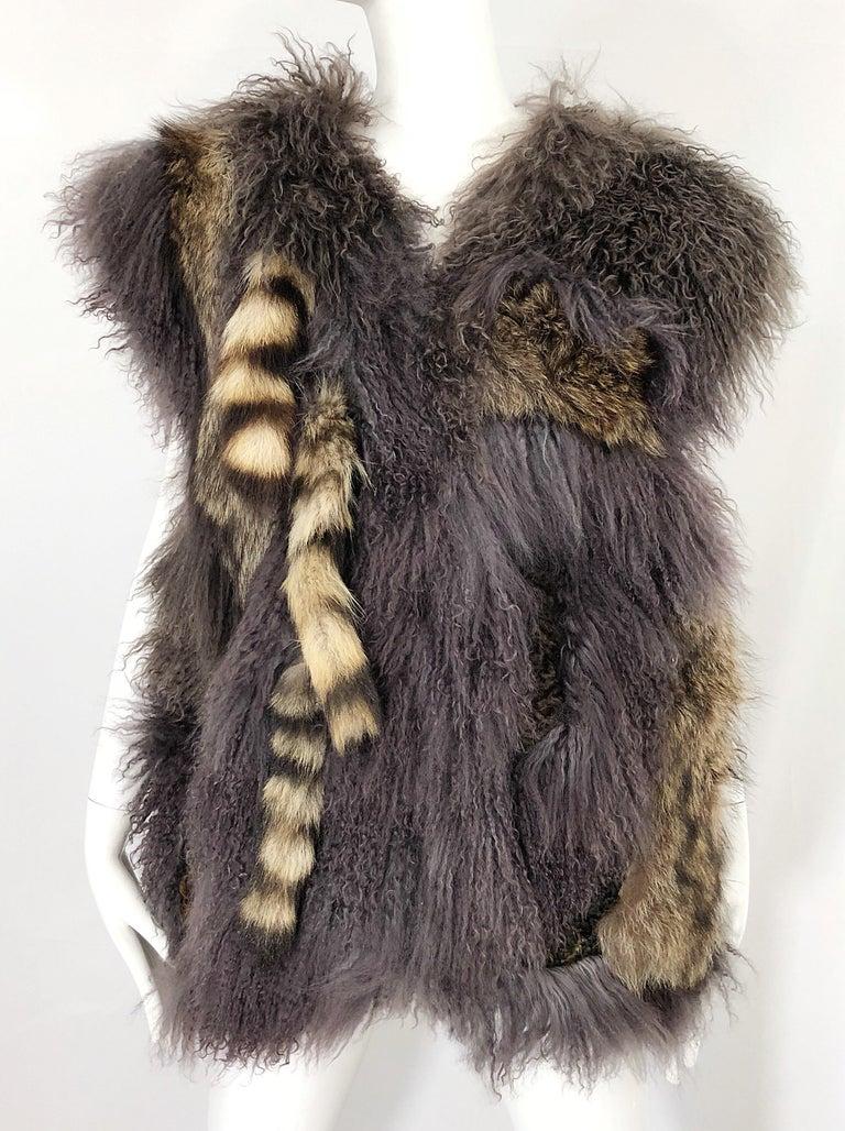 Vintage Amen Wardy 1970s Avant Garde Grey + Brown Mixed Fur Leather Vest Jacket For Sale 1