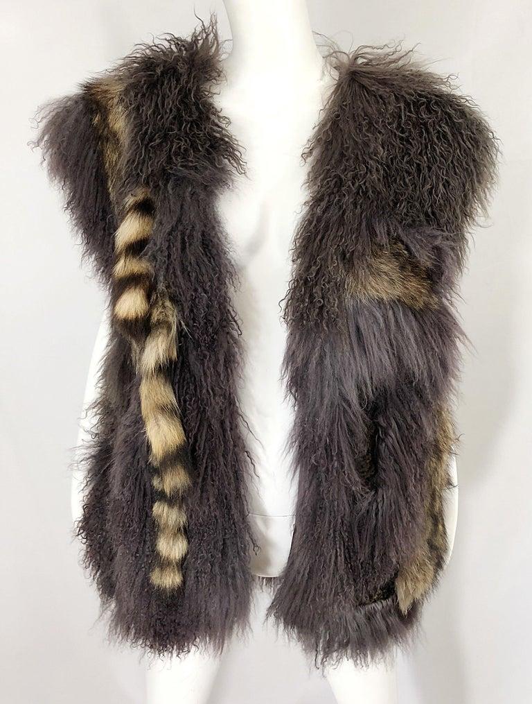 Vintage Amen Wardy 1970s Avant Garde Grey + Brown Mixed Fur Leather Vest Jacket For Sale 2