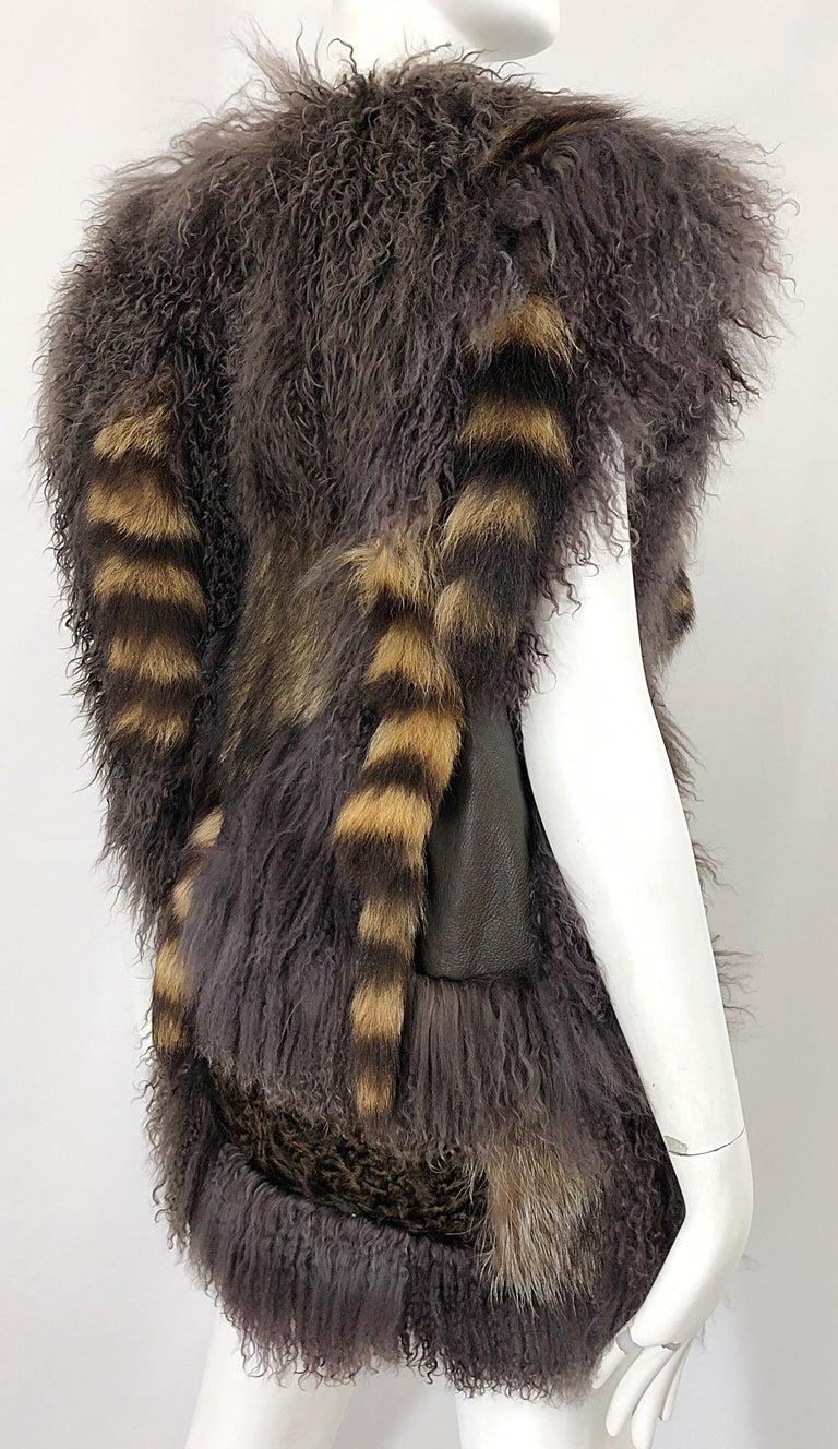 Vintage Amen Wardy 1970s Avant Garde Grey + Brown Mixed Fur Leather Vest Jacket For Sale 3