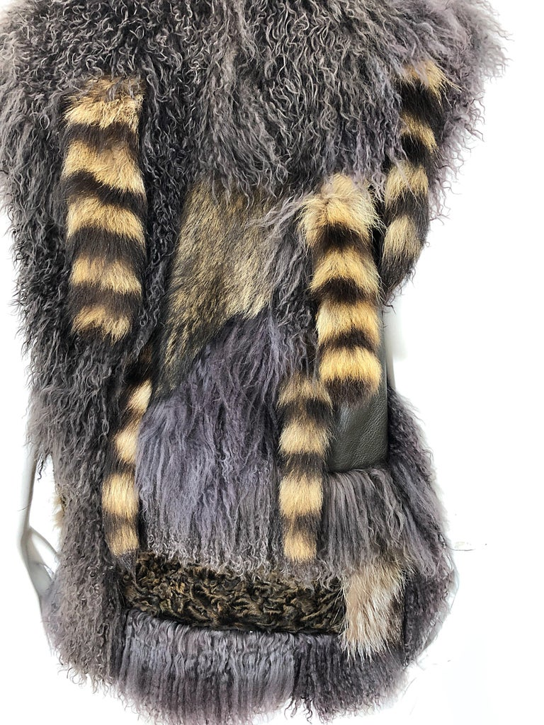Vintage Amen Wardy 1970s Avant Garde Grey + Brown Mixed Fur Leather Vest Jacket For Sale 4