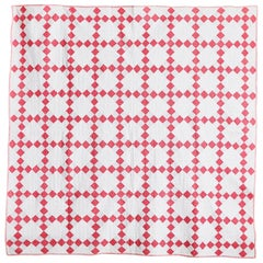 "Vintage American 1930s ""Nine Patch"" Patchwork Quilt in White and Red Patterns"