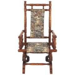 Vintage American Beechwood Child's Platform Rocking Chair, Scotland 1970, B2467